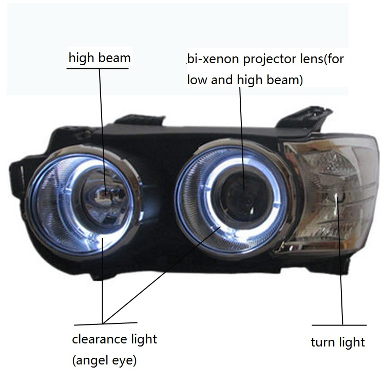Ангел LED глаз + halo Включите свет + halo дальнего света + Биксеноновая объектив проектора, фар собрать для Chevrolet Aveo Sonic 2011-14