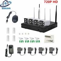 SSICON 4CH CCTV Системы Беспроводной 720 P NVR 4 шт. 1.0MP ИК Открытый P2P Wi Fi ip cctv безопасности Камера комплект комплект видеонаблюдения