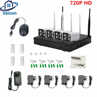 SSICON 4CH CCTV System Wireless 720P NVR 4PCS 1.0MP IR Outdoor P2P Wifi IP CCTV Security Camera Set Surveillance Kit