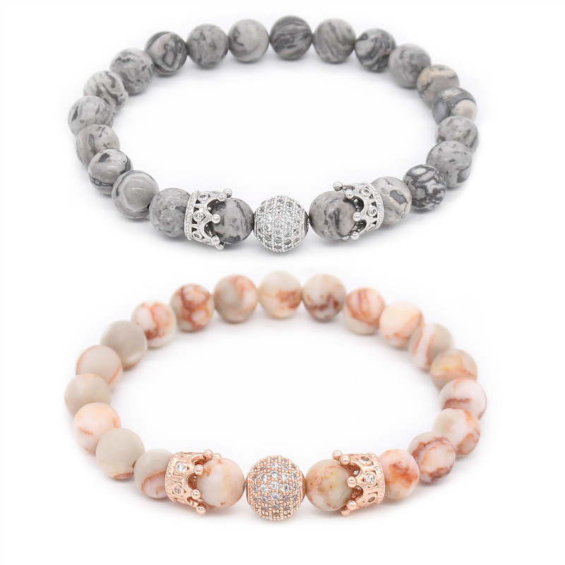 Poshfeel 2Pcs/Set Luxury Cz Crown Charm Bracelets For Lovers His And Hers Couple Bracelets & Bangles Pulsera Mbr170372