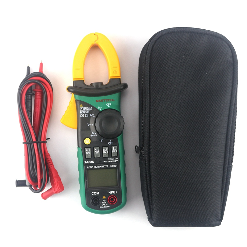 Mastech MS2108 Digital AC/DC Clamp Meter Multimeter True RMS Volt Amp Ohm Cap Herz Multi Tester Over Range Protection Work Light mastech ms2108 t rms ac dc auto rg clamp meter tester max hold backlight inrush vs free shipping