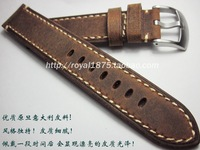 2017 High Quality 20mm 22mm Handmade Italian Brown Vintage Genuine Leather Watch Band Strap Men Watchband