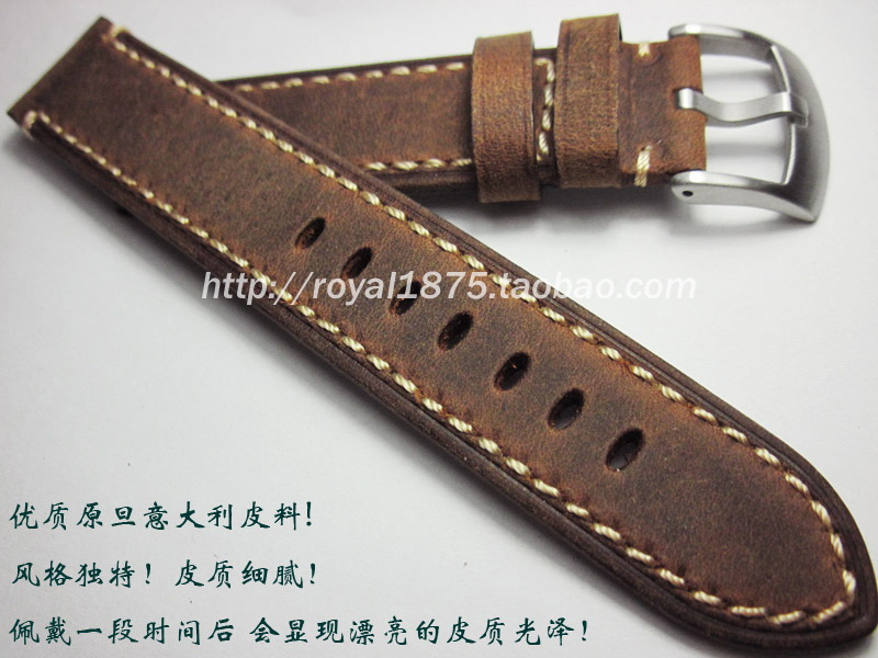 high quality 20mm 22mm Handmade Italian Brown Vintage Genuine Leather Watch Band Strap Men Watchband Strap for tudor Seiko Omega handmade 22mm 22mm vintage brown black ostrich skin leather strap retro watchband for kelpy pilot watch
