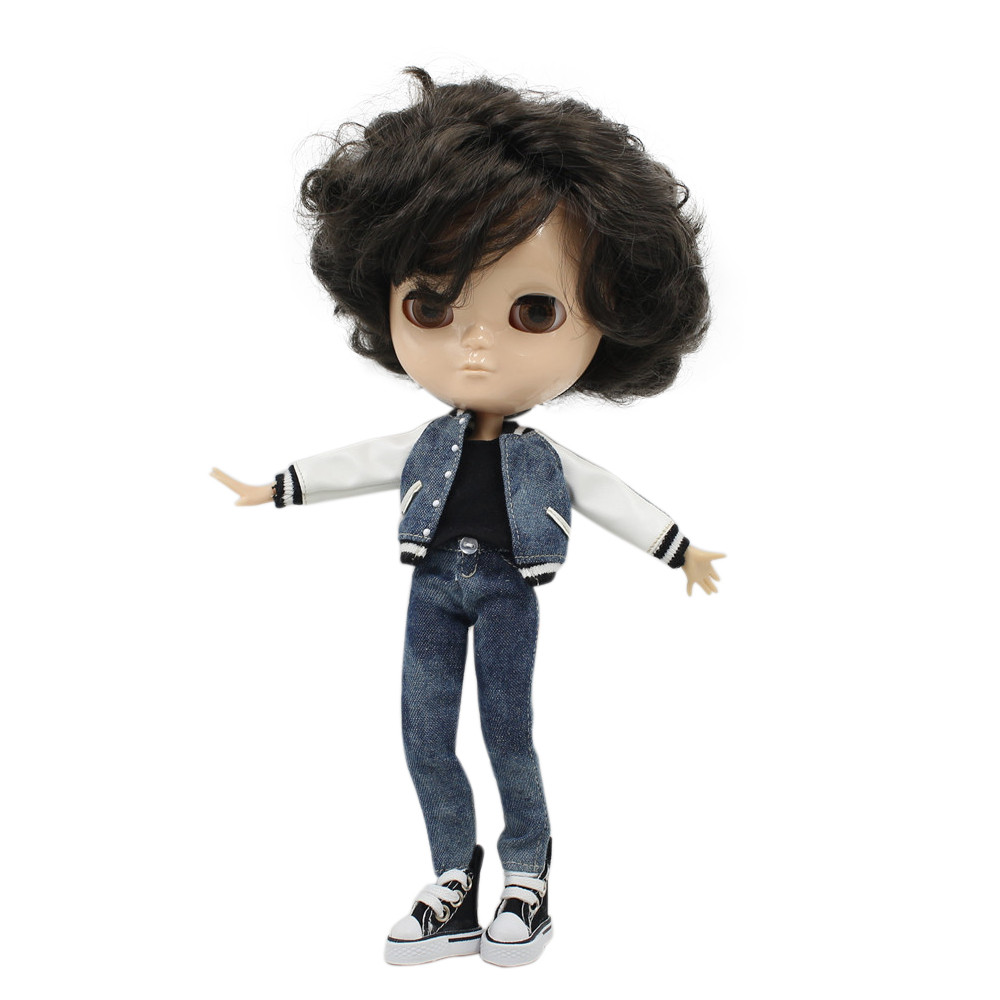 все цены на ICY bjd boy doll joint body short black hair side parting without makeup 1/6