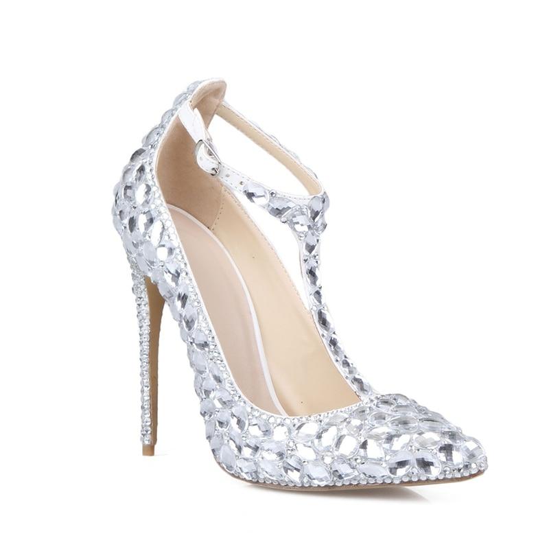 ФОТО Spring Autumn T-Strap Women Pumps Silver Rhinestones Women Shoes High Heels T-Strap Bridal Shoes Weddings