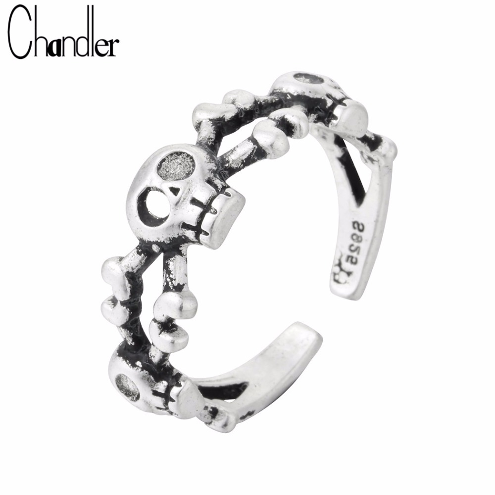2 Set Gothic Punk Finger Ring Open Adjustable Ring Band Women Birthday Jewelry