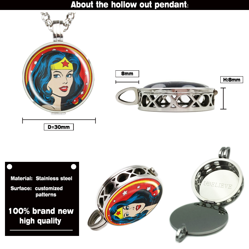 Aromatherapy Jewelry Hollow Beautiful Girl Photo Picture Diffuser Locket Pendant With Felt Pad Hollow Perfume Diffuser Locket