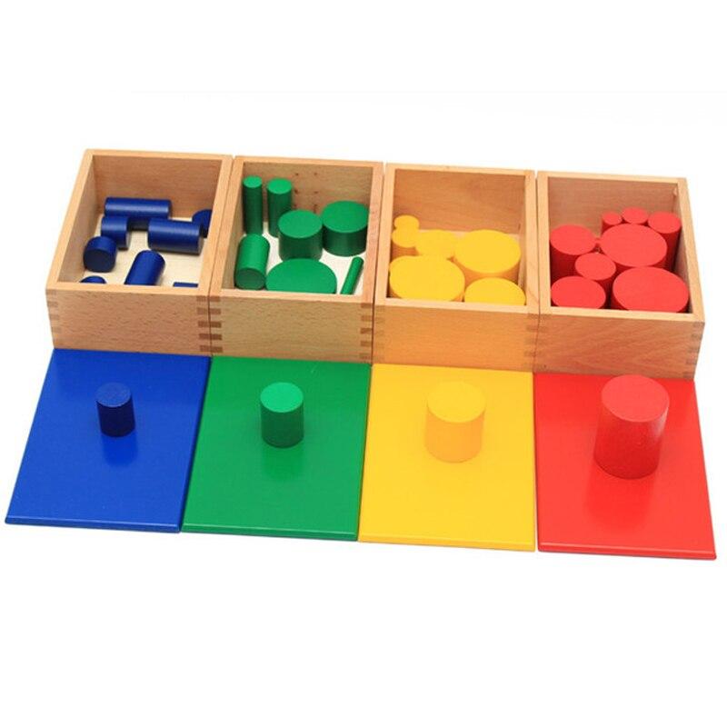 Montessori Éducatifs Jouets En Bois Enfants Knobless Cylindre Montessori 4 ensembles de 10 Cylindres Grand Cadeau
