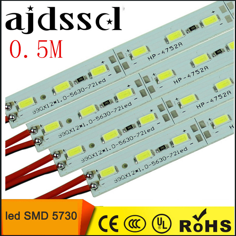 10pcs*50cm Factory Wholesale DC 12V SMD 5730 5630 LED Hard Rigid Strip Bar Light 5pcs lot 50cm u aluminium shell dc 12v 36 smd 5630 led hard rigid led strip bar light with pc cover