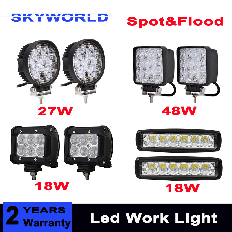 18W 27W 48W Offroad Car 4x4 4WD Truck Tractor Boat Trailer 4x4 SUV ATV 12V 24V Spot Flood LED Driving Lamp LED Work Light Bar