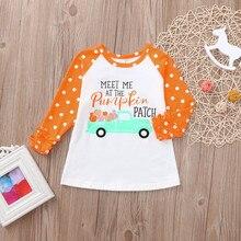 c07bab7b3 Toddler Baby Kids Girl Ruffle Letter Pumpkin Tops T-Shirt Halloween Clothes  girls pumpkin in