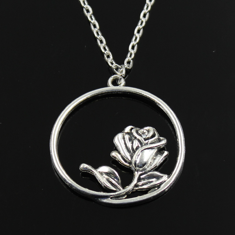 Simple Classic fashion rose flower Antique Silver Pendant Girl Short Long Chain Necklaces Jewelry for women