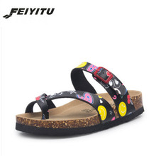 купить FeiYiTu 2018 New Summer Beach Cork Slipper Flip Flops Shoes Women Mixed Color Casual Slides Shoes Flat with Plus Size 35-45 по цене 951.69 рублей