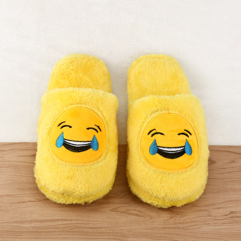 2017 Fashion Cute Unisex Winter Man's Plush Slippers Indoor Shoes House Funny Women Slippers Emoji Shoes Warm House Slipper