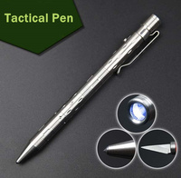Portable Stainless Steel Tactical Pen With LED Light Outdoor Multi Functional Self Defense Supplies Edc Tools