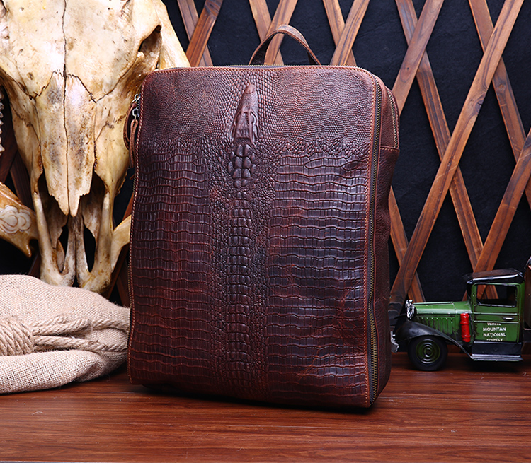 ФОТО Free shipping Genuine leather man bag male for Crocodile vintage one shoulder cross-body bag crazy horse leather backpack
