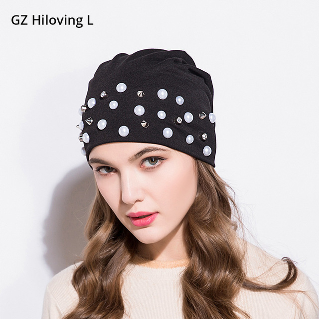 89cb9f496fd GZHilovingL Womens Winter Preals Diamond Beanies Polyester Hat Fashion  Rivet Slouch Beanie Hats Spring Ladies Girls Gorras Caps