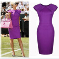 Fashion Dress Spring Summer Style Vestidos Plus Size Womens Bodycon Elegant Pencil Dress Short Vestiti Donna Purple Solid Slim