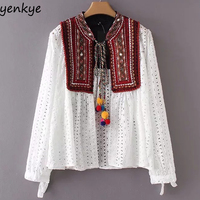 Women Sexy Hollow Out Ethnic Embroidery Jacket Lace Up Stand Collar Long Sleeve Cardigan Jackets Plus Size Brand chaqueta mujer