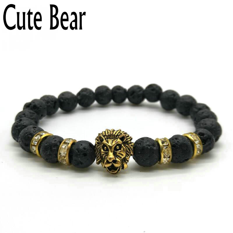 Cute bear brand antique gold lion head men bracelet matte for Jewelry stores in bear delaware