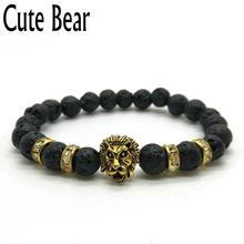 Cute Bear Brand Antique Gold Lion Head Men Bracelet Matte Volcano Lava