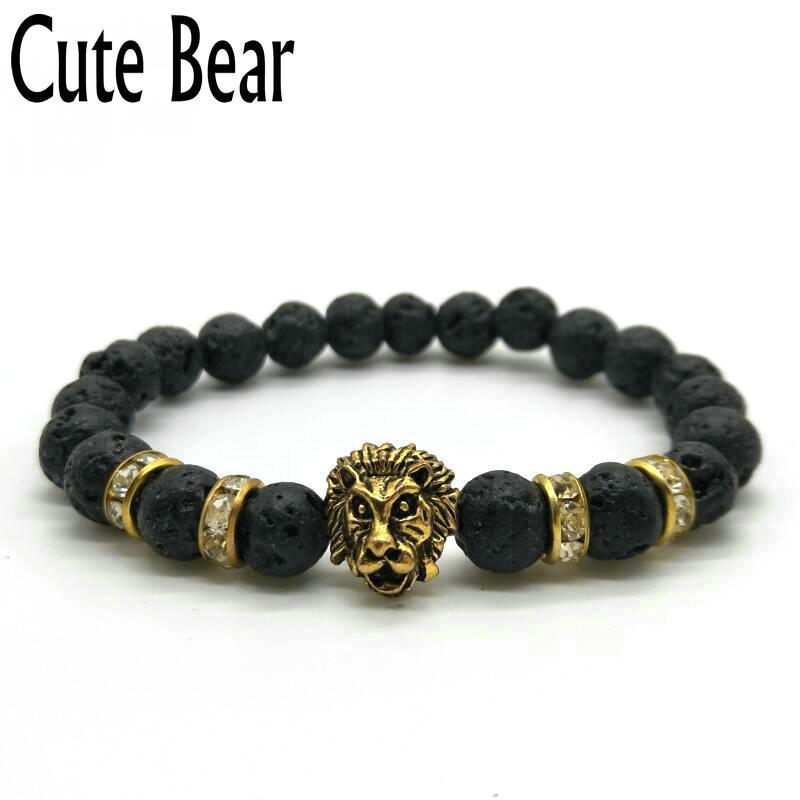 Cute Bear Brand Antique Gold Lion Head Men Bracelets