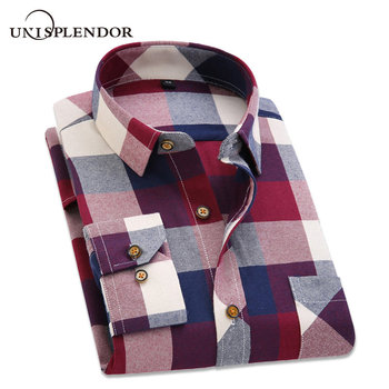 2019 Spring Autumn Flannel Men Plaid Shirt Long Sleeve Men's Warm Casual Shirts British Cotton Mens Check Shirt 14 Design YN790