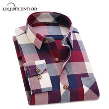 1166fb3e 2019 Spring Autumn Flannel Men Plaid Shirt Long Sleeve Men's Warm Casual  Shirts British Cotton Mens Check Shirt 14 Design YN790