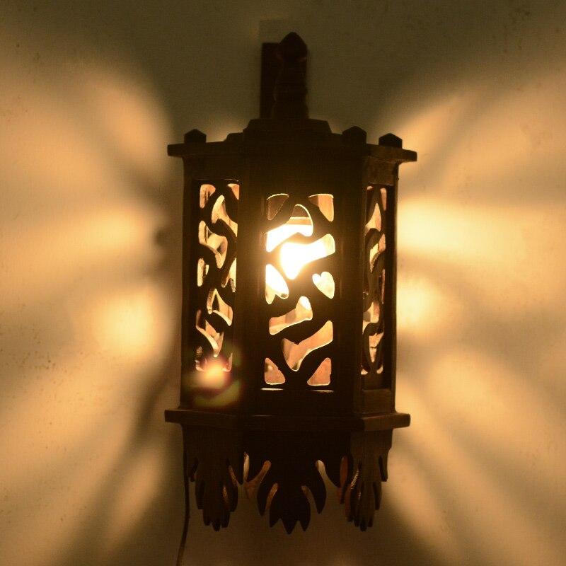 Southeast Asian style solid wood hand carved antique teak corridor model room decorative wall lamp LO8920 teak house стол консольный britt