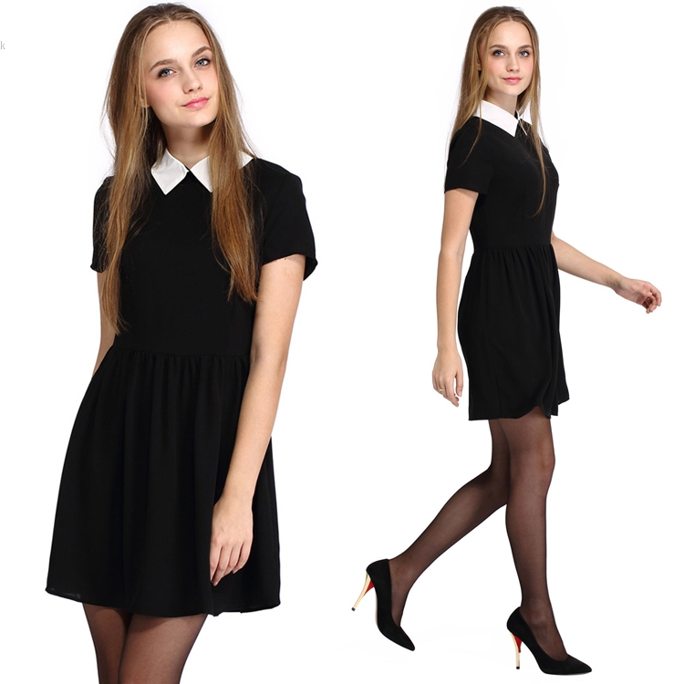 6faa80f4e7 US $11.2 |2016 Summer Fashion Vestidos For Women Elegant Peter Pan Collar  Dresses Party Lady Short Sleeve Office Dress School Sundress-in Dresses  from ...