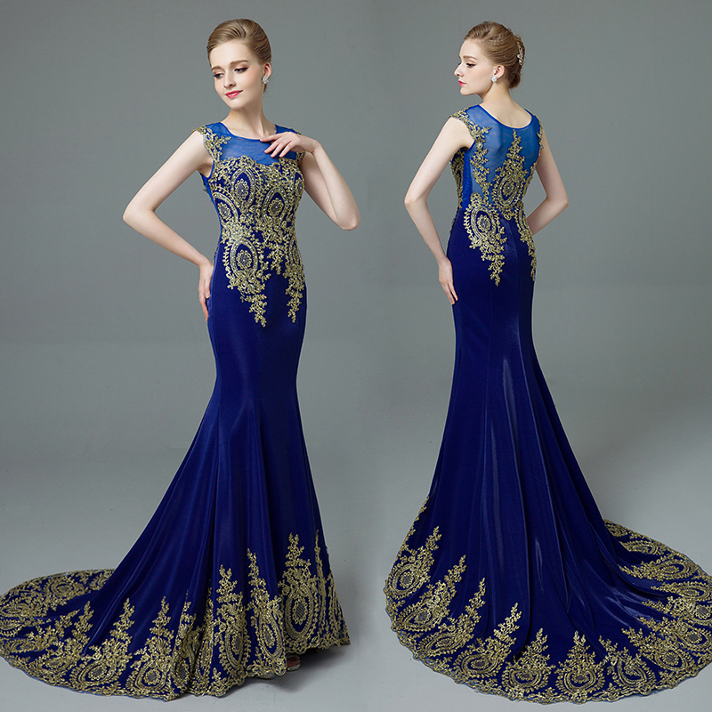 2016 Dubai Mermaid Evening Dresses Long Blue Gowns