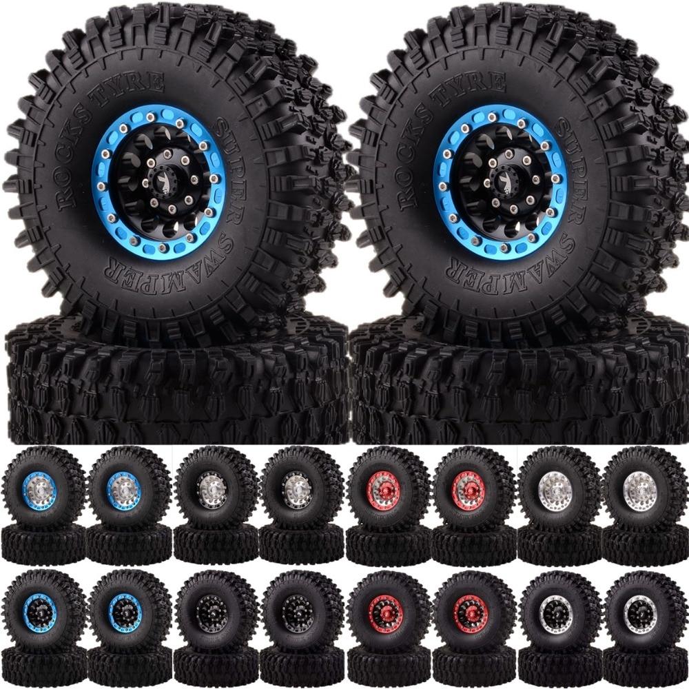 1060-7037 4pcs Rock Crawler 1.9 Aluminum Beadlock Wheel Rims & 120mm Super Swamper Tyre For 1/10 RC Model CC01 D90 SCX10 HSP austar 4pcs wheel tires rims inflate beadlock pneumatic tyre 3021rd for 1 10 rc car