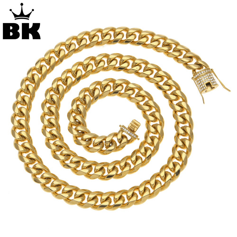 14mm Gold Filled Curb Cuban Chain Men Hip Hop Stainless Steel Iced Out Rhinestone Link Miami Chain 78cm Long Chain Drop Shipping 8mm 10mm 12mm 14mm stainless steel curb cuban link chain hip hop punk heavy gold silver plated cuban necklace for men