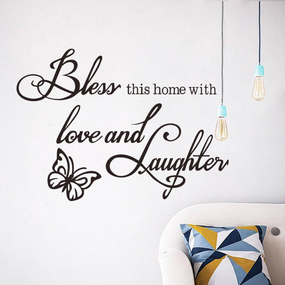Urijk 2017 NEUE PVC Englisch Sprche Schmetterling Muster Wandaufkleber Home Decoration Wohnzimmer Schlafzimmer Abnehmbare Wandtattoos