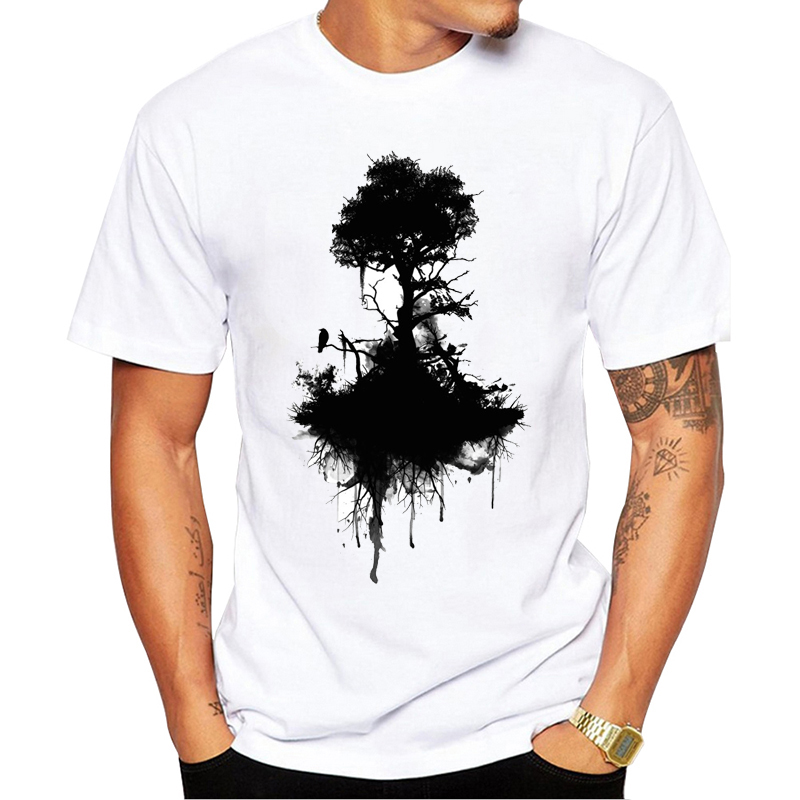 VagaryTees 2019 Men's Wild Ink Tree And Crow T Shirt Summer High Quality Custom Printed T-Shirt Fashion Hipster Tee Tops image