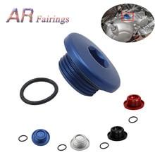 Di alluminio Per Yamaha YFM700 YFM 700 Top Carter Olio di Riempimento Plug & O Ring Raptor Quad Blu Nero Argento rosso