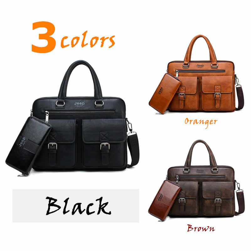41c8527af6 ... JEEP BULUO Men Business Bag For 13 3 inch Laptop Briefcase Bags 2 in 1  ...