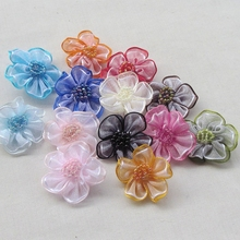 40pcs Organza Ribbon Flowers Bows 2tone Wedding Sewing Craft Decoration