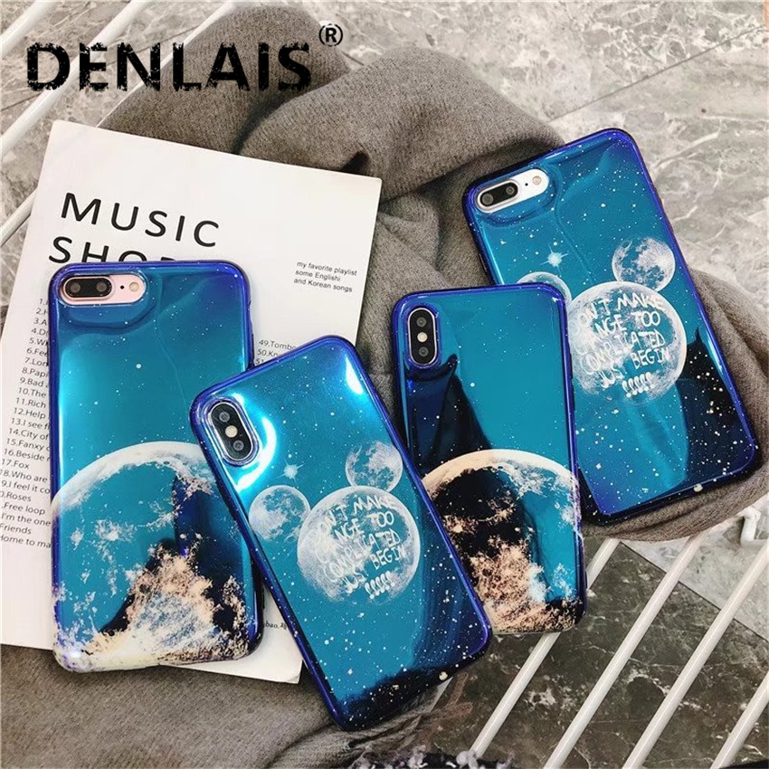 Fashion Mickey Moon Sky Space Case For iPhone X 8 7 7Plus Cases Blue Light Silicone Soft Phone Case For iPhone 6 6s 6Plus Cover