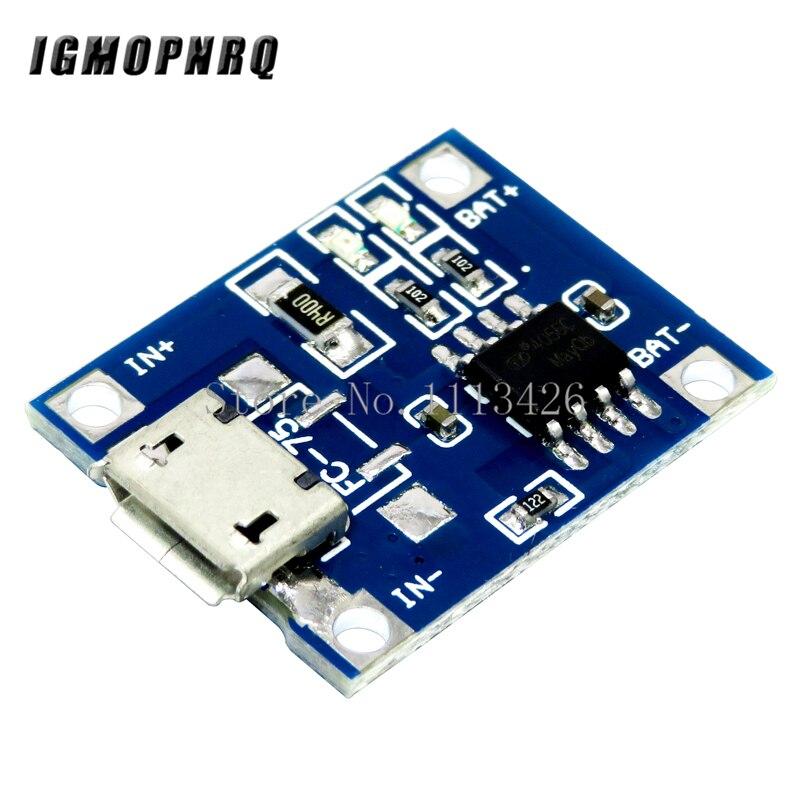 10 pcs/lot 5V 1A Micro USB 18650 Lithium batterie chargeur Module + Protection double fonctions TP4056Circuits intégrés   -