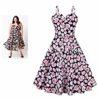 Hot New Summer Sling Plus Size Women S Daisy Floral Printed Dress A Line Retro 50s60s