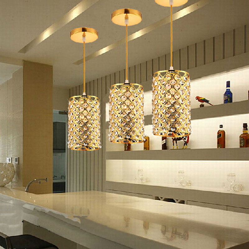3pcs Modern bar small chandelier crystal lamp living room lights gold restaurant bedroom single - head lamps simple LED lighting gold color simple brief 5w crystal chandelier led lamp for home aisle meeting room bar cloth shops 5w chandelier 6000k 2800k