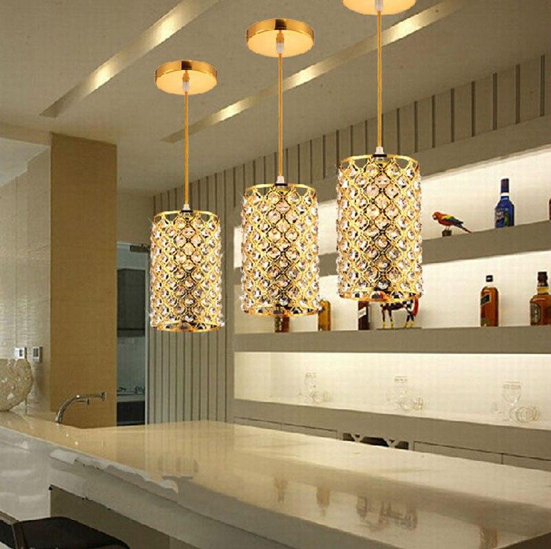 3pcs Modern Bar Small Chandelier Crystal Lamp Living Room Lights Gold Restaurant Bedroom Single Head