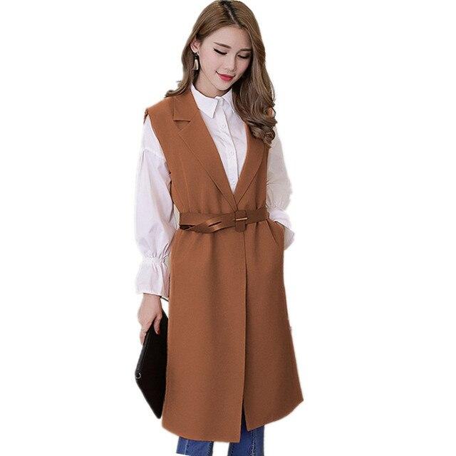 Elegante cinturón Slim largo Chaleco de verano de las mujeres chaleco  Chaleco de gran tamaño primavera caf24e57ebda