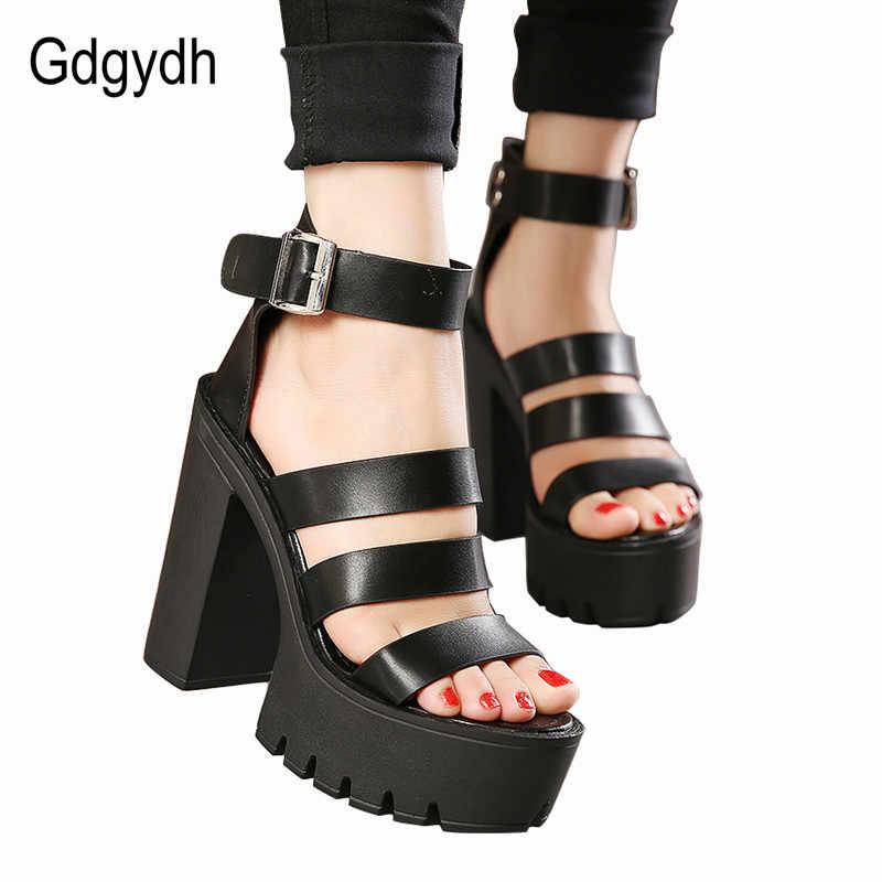 Gdgydh 2020 yeni yaz ayakkabı kadın beyaz açık ağızlı düğme kemer kalın topuk takozlar Platform ayakkabılar moda rahat sandalet kadın