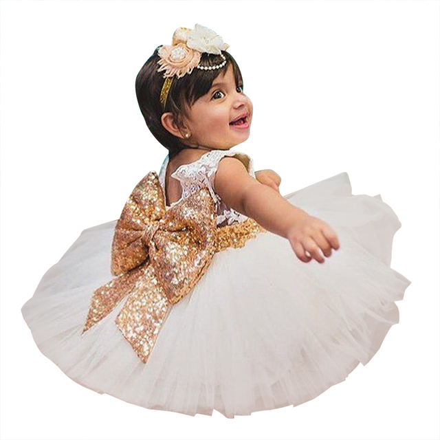 4f83a1c4af13 Flower Baby Wedding Christening Gown 1 Year First Birthday Outfits ...