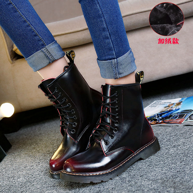 Real Leather Martins font b Women b font Boots Motorcycle Military Girls Casual Walking Shoes Winter