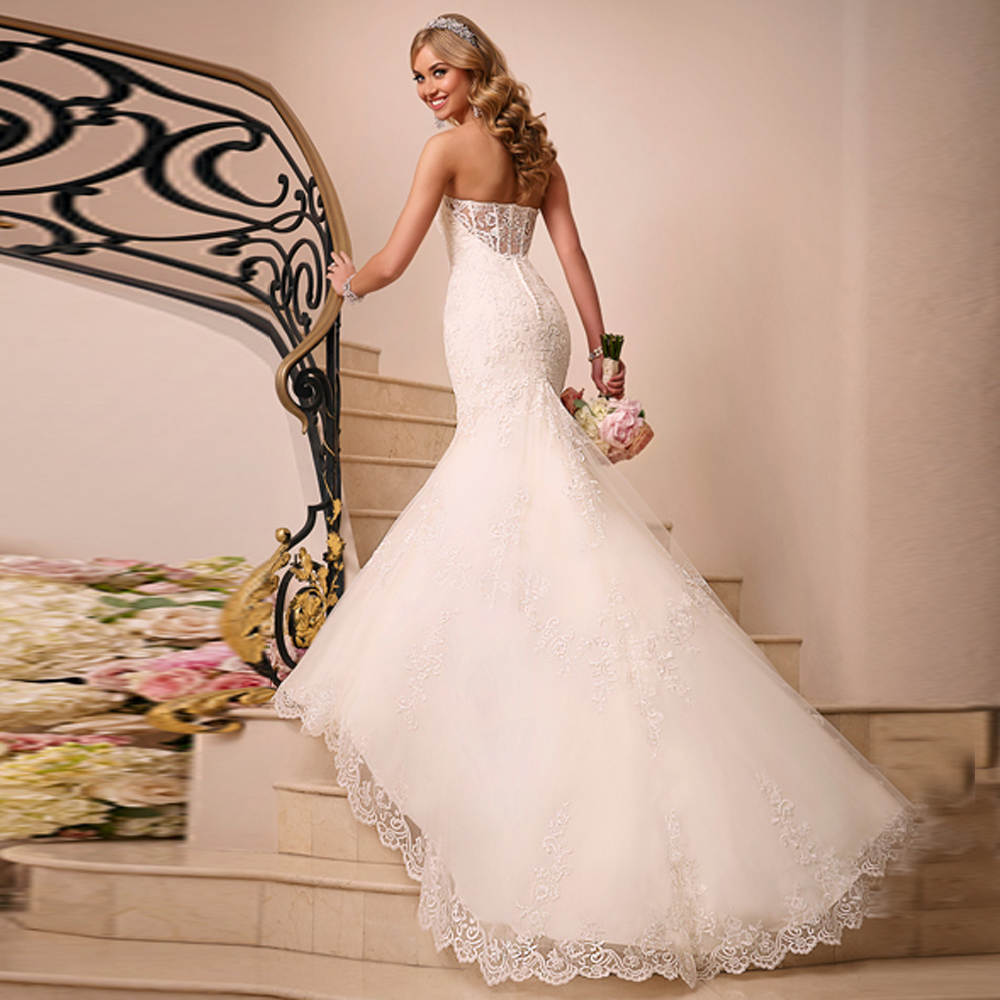 Cheap White Ivory Wedding Dresses Mermaid Lace Appliques: 2015 HOT BEAUTIFUL CUSTOM MADE APPLIQUES AND LACE MERMAID