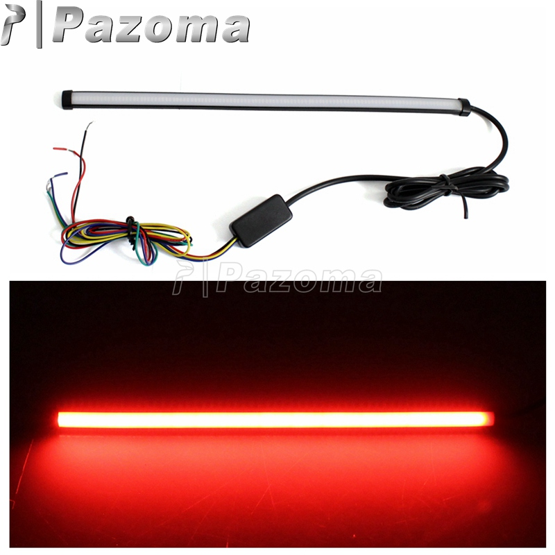 29cm Universal Motorcycle LED Light Strip Tube Sequential Turn Signals License Plate Tail Light Brake Stop Light Red Amber Color