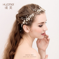 Handmade Small Flower Crystal Bridal Headband Tiara Gold Wedding Hair Accessories Elegant Headpiece Pearls Women